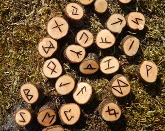 Hand Crafted & Branded - Blackthorn Elder Futhark Runes. Divination.