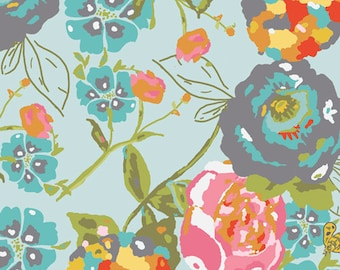 Art Gallery Fabrics - Bari J Lilly Belle Garden Rocket Turquoise Fabric - LillyBelle Floral Flowers - Spring Summer Sale Fabric by the Yard