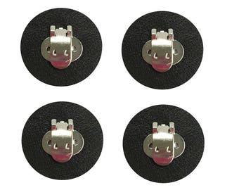 2 Paare leere Schuh-Clips mit schwarzen Leder Pad zu DIY Schuh Dekorationen, Verzierungen