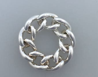 Wide chain silver ring