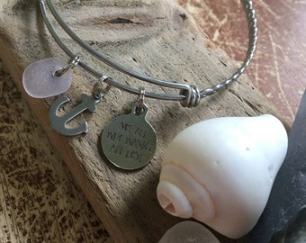 Light purple seaglass, anchor/ not all who wander are lost bangle