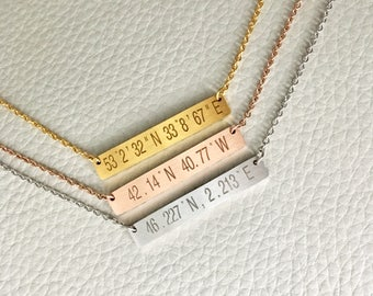 Coordinates Necklace,Personalized Bar Necklace,Custom Bar Necklace,Location Necklace,Bridesmaid Gift, Engraved Jewelry