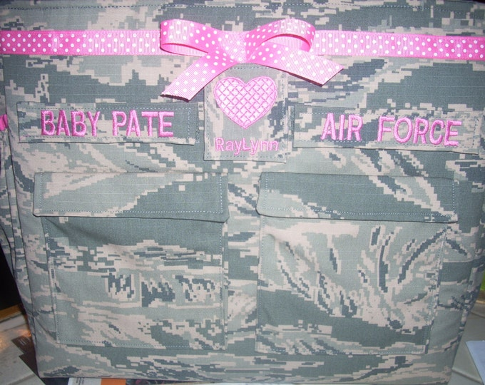 Air Force ABU diaper bag in your choice colors personalized name tags handmade unisex travel tote customized personalized to your request