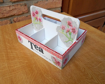 Flowers with six compartments tea box