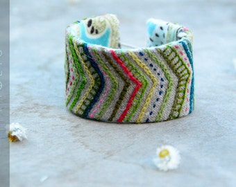 Hand embroidered tribal pastel and neon cuf.  Natural linen chevron bracelet with wool embroidery.