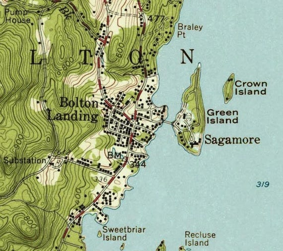 Lake George Bolton Landing 1958 USGS Old Topographic Map