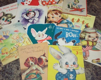 Lot of 13 Children's Boy Birthday Cards Mechanical Die-Cut Used Clowns Bunnies Animals Puppies Greetings
