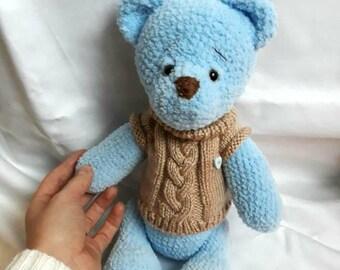 Crochet bear Blue bear Crochet teddy Teddy bear toy  Crochet baby toy Baby shower gift Bear toy Baby girl gift Baby boy gift Plush toy
