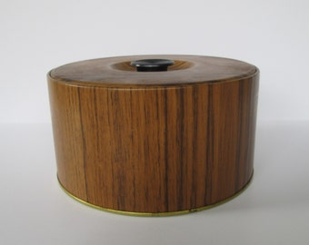 Faux Bois Metal Canister Container