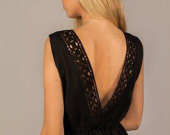 Linen Dress Midi/ Elegant Linen Dress With Open Back and Laces/ Black Linen Dress/ Linen Boho Dress/ Knee Length Dress/Wedding Linen Dress