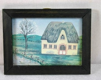 Old Dutch Farm In Wooden Frame Decorative Frame Cottage In Wooden Frame Home Decor Frame Nr 3