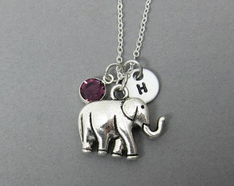 Elephant Necklace - Handstamped initial personalized name, Customized Swarovski crystal birthstone