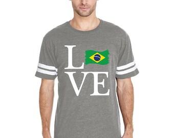 Love Brazil  Men Football Fine Jersey Tee