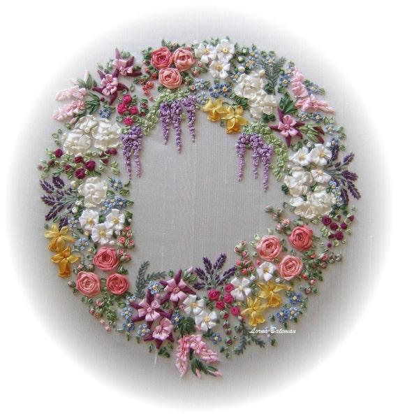 Silk Ribbon Embroidery Garland Of Silk Ribbon Flowers Full