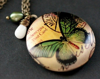 Olive Green Butterfly Necklace. Butterfly Locket Necklace with Coral Teardrop and Pearl. Handmade Jewelry.