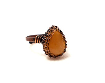 Amber ring, amber copper ring, baltic amber ring, nature ring, teardrop ring, amber rustic ring, amber adjustable ring, wire wrapped ring