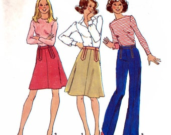 Simplicity 7112 Vintage 70s Sewing Pattern for Misses' Skirt and Pants - Uncut - Size 14