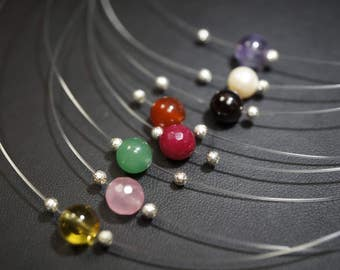 Tiny Invisible Chain Choker, Rose Quartz Necklace - Citrine Necklace, Clear Quartz Necklace, Red Carnelian Necklace, Green Aventurine Choker