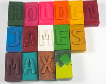 Letter Block Crayons - set of 15 - school supply, back to school, name, personalized crayons, letter crayons, party favor