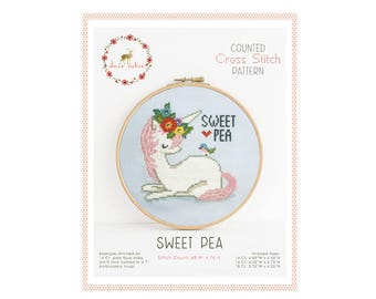 Counted Cross Stitch Pattern - Sweet Pea / unicorn cross stitch pattern, embroidery, pattern, gift, supply, instruction, tween gift, bird