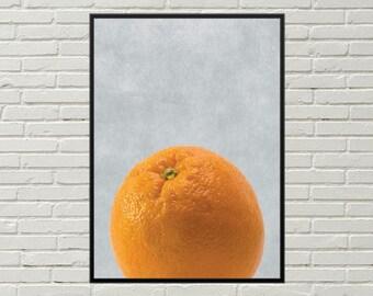 ORANGE fruit art print, orange print fruit digital print, orange art print minimalist art instant download, orange kitchen orange home decor