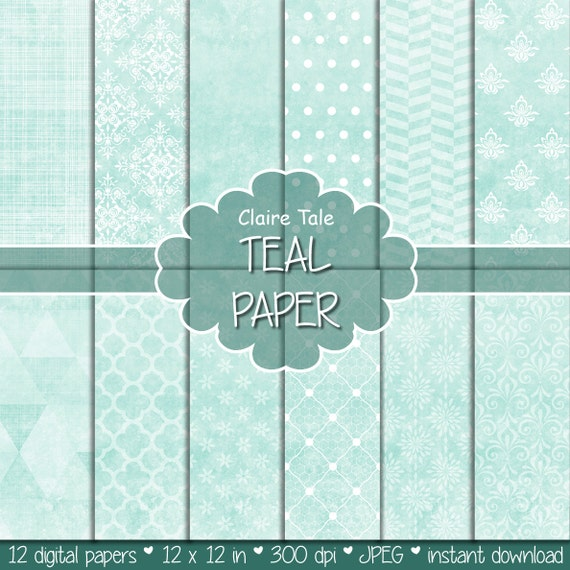 "Teal digital paper: ""TEAL TEXTURES"" with teal damask, crosshatch, quatrefoil, flowers, lace, polka dots, triangles, stripes patterns"