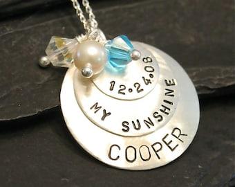 You Are My Sunshine - Mother/Grandma/Nana Keepsake Sterling Silver Necklace