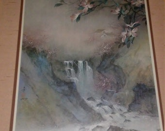 Lena Y Liu Rare Vintage Hand Signed and numbered framed matted print Waterfalls 1