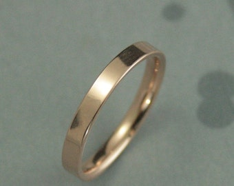 Rose Gold Band--Women's Gold Ring--Women's Wedding Band--2.5mm Flat Band with Comfort Fit--High Polished or Brushed--Your Choice of Gold