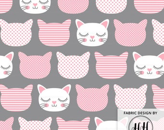 Cat Face Fabric / Cute Kitty Face Fabric / Nursery Decor Cotton Fabric / Cat Patterns / Pink and Gray Kitten Print by the Yard & Fat Quarter