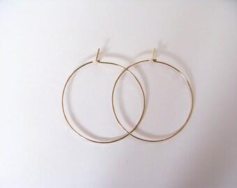 "Simple hoop earrings-1.5""hoop earrings-thin hammered silver or gold hoops-choose from sterling silver, 14k gold filled or rose filled"