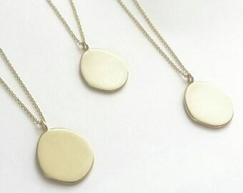 Minimalist Golden Drop Amulet Necklace. Sterling Silver or Brushed Golden Amulet Neckpiece. Gold Coin necklace.