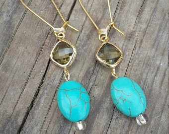 Ready to ship! ON SALE NOW! Olive green and gold bezel framed glass and turquoise dangle earrings classy boho native wire wrapped