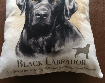 Black Labrador mini cushion
