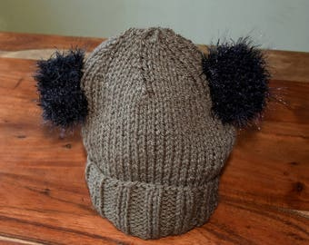 Babies Teddy Bear Hat with Sparkly Ears (knitted baby hat, hand knit hat, cosy toddler hat, kids hat, adult hat, baby gift, chunky knit hat)