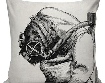 Steampunk Pillow Cover Cotton Canvas Throw Pillow 18 inch square  UE-45 Victorian Scuba Diver Urban Elliott