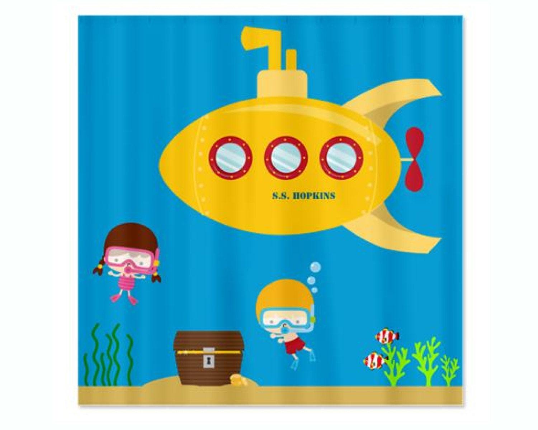 Deep Sea Kids Personalized Shower Curtain Yellow Submarine