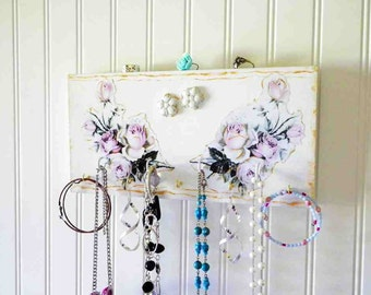 Cottage Chic Pink Roses Necklace Organizer Decoupaged Wall Decor Jewelry Hanger Key Hook Scarf Holder
