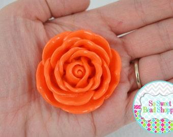 45mm Resin Flower Beads, 2ct, Orange