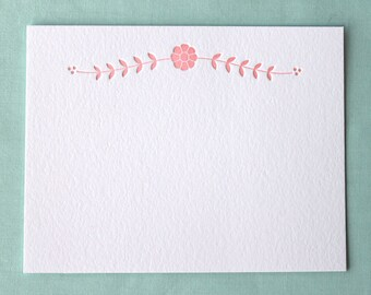 Flat Card Set with Letterpress Floral Vine