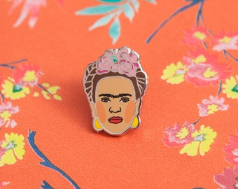 Frida Kahlo Inspired Enamel Pin Badge - Hard Enamel Nickel Free Metal Brooch - Feminist Art Mexican Day of the Dead Riot Grrrl