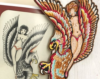 Tattoo Flash Girl and Eagle Embroidered Patch Hand Made