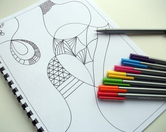 Printable Coloring Book, Zentangle Inspired Doodles to finish and color