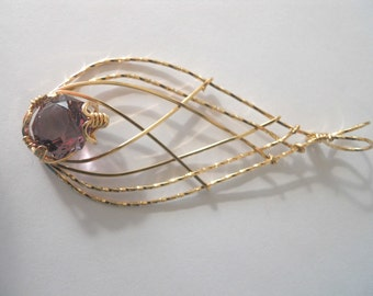Faceted Ametrine Spire Pendant in 14kt Gold Filled Wire