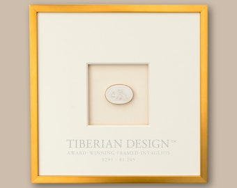 "Award Winning Framed Intaglios: Single Intaglio with Neo-Classical Frame, 14 1/2"" x 14 1/2"""