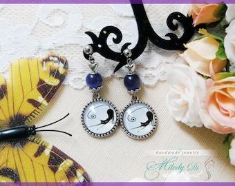 Cat lover earrings gift for girlfriend Cat eye jewelry Purple stud earrings Cat cabochon earrings for girl Chandelier modern earrings
