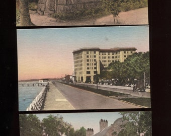 3 South Carolina Postcards Hand Colored Fort Sumter Hotel Middleton Place Tudor House