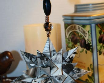 Origami Black Gray Manga Triple Layer Star Hanging Ornament