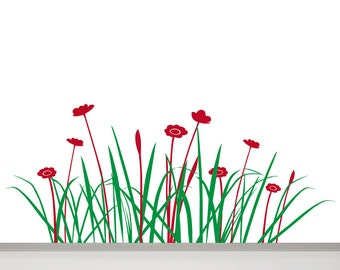 Grass Wall Decal, Flowers Decal, 47 in Grass Decal, Wall Decal Flower, Grass Wall Decor, Grass Wall Art, Flowers Wall Art, a Flowery Meadow