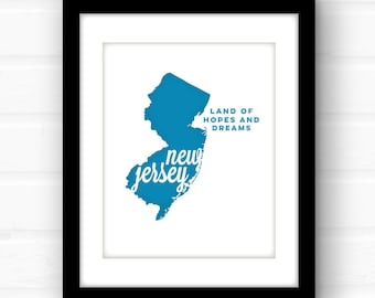 New Jersey wall art | New Jersey print | New Jersey art | Jersey City art | state wall art | Newark | Hackensack | Jersey City | Camden